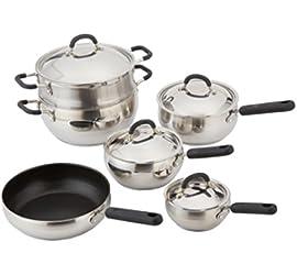 10 Piece 18/10 Belly Shaped Cookware Set w/ Encapsulated Base & Santoprene Handles