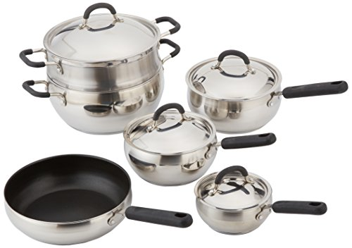 Base Encapsulated (10 Piece 18/10 Belly Shaped Cookware Set w/ Encapsulated Base & Santoprene Handles)