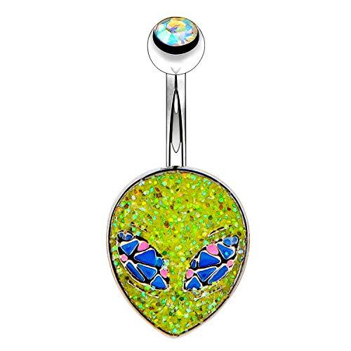 OUFER 14G Stainless Steel Navel Rings Green Glitter Alien Head Belly Button Rings Navel Piercing Jewelry ()