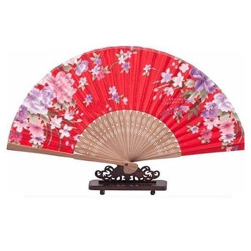 (Agordo Purple Flower Pattern Bamboo Hollow Out Ribs Folding Hand Fan Red S6I3)