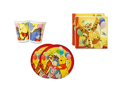 Winnie the Pooh Birthday Party Supplies Set Plates Napkins Cups Kit for 16 -