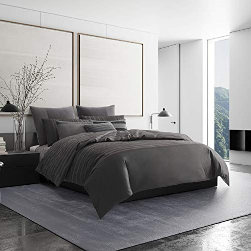 Vera Wang Shadow Stripe Duvet Cover Charcoal
