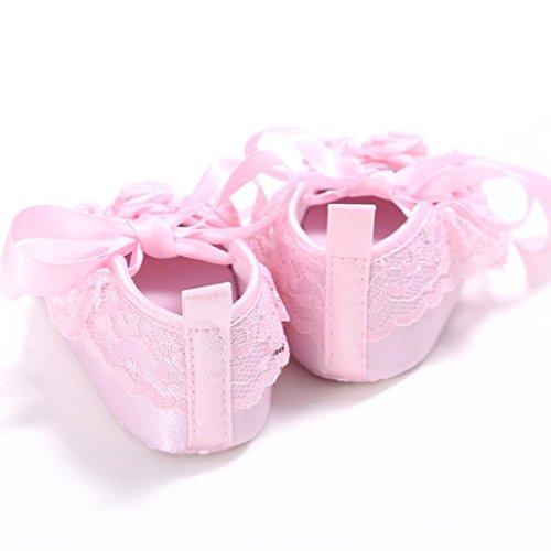 Kingko® Baby Ribbon Blumen Dekorative Schuhe Mädchen Krippe Schuhe Neugeborene Blumen weiche Sohle Anti-Beleg Baby Turnschuhe