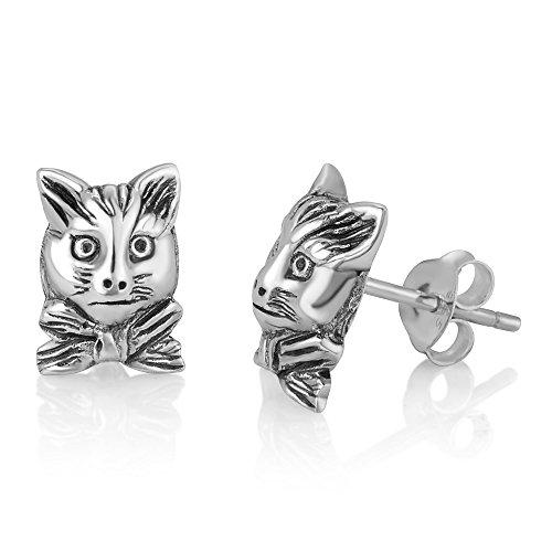 925 Oxidized Sterling Silver Vintage Little Cat Kitten Head w/ Ribbon Post (Jerry Sterling Silver Earrings)