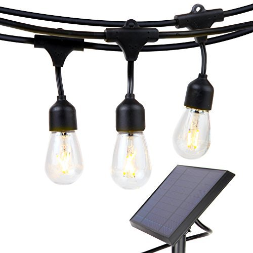 Brightech Ambience Pro - Waterproof Solar LED Outdoor String Lights - Hanging 2W Vintage Edison Filament Bulbs - 27 Ft - Create Market Ambience On Your Deck, Pergola