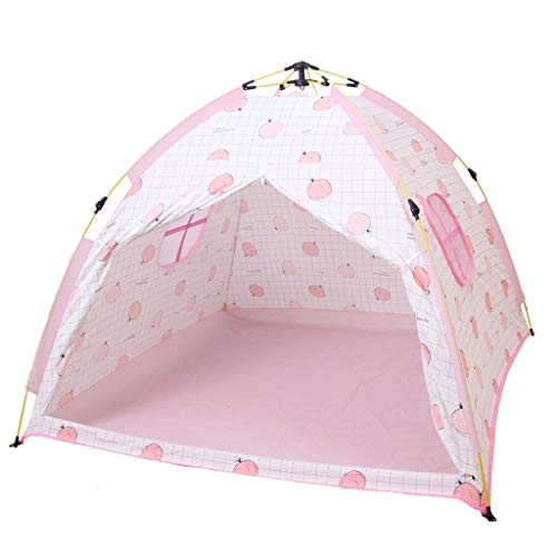 IDWO-Tent Children's Tent Automatic Quick Opening Outdoor Camping Tent Indoor Girl Game House Castle,Pink