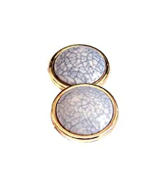Clip-on Earrings Colored Marble Center Gold Tone Clip Earrings 1.25 Inch