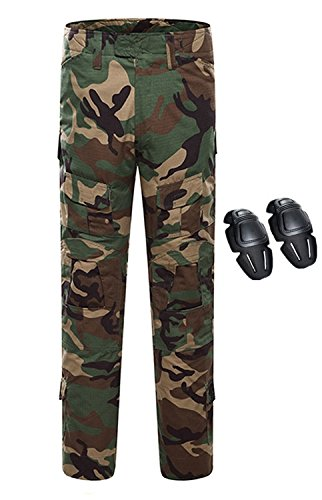 Mens Woodland Camo Army Pants - KYhao Military Paintball Camo Tactical Combat Trousers Airsoft Pants Multi-Pocket Duty Pants Knee Pads (XXL (38), WL)