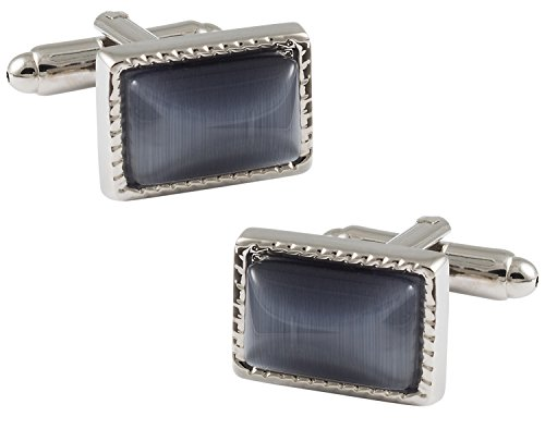 Cuff-Daddy Unforgettable Charcoal Gray Catseye-style Cufflinks Framed silver-tone with Presentation Box