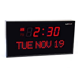 DBTech Big Oversized Digital Red LED Calendar Clock with Day and Date - Shelf or Wall Mount (16 inches - Red LED)