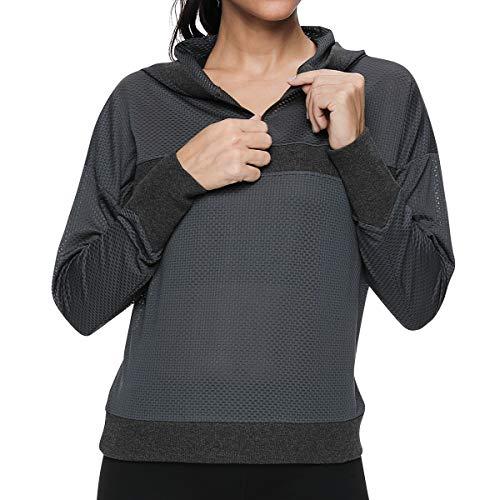 VUTRU Women's Long Sleeve Sports Running Tops Mesh Hoodies Half Zip Pullover Workout Jacket