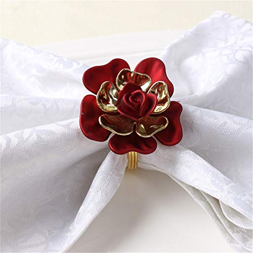 Pack of 10 Exquisite Red Rose Napkin Buckle Napkin Ring Buckle for Wedding Party Napkin Holder Party Table ()