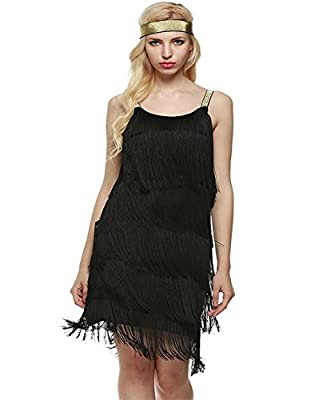 LADY ANGEL Women's Flapper Dresses 1920s O Neck Fringed Sleeveless Strap Tassels Party Gown Costume Dance Dress