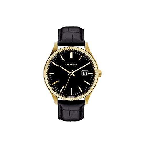 Caravelle Men's Quartz Stainless Steel and Leather Watch, Color:Black (Model: ()