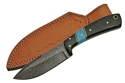 Turquoise Horn - SZCO Supplies Horn/Turquoise Damascus Steel Skinning Knife