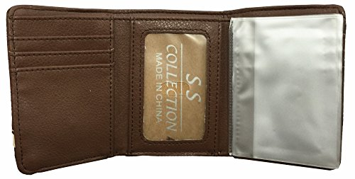 Cross with a Cowboy Praying Mens Wallet Western Trifold W040-30 Leather Brown