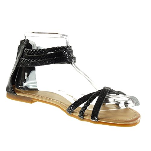 Angkorly - Zapatillas de Moda Sandalias mujer brillante multi-correa trenzado Talón Tacón ancho 1 CM - Negro
