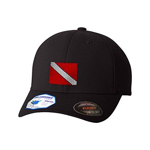 Hat Diver (Speedy Pros Sport Scuba Diving Flag Embroidery Unisex Adult Elastic Polyester/Spandex Flexfit Pro-formance Branded Hat Cap - Black, Large/X Large)