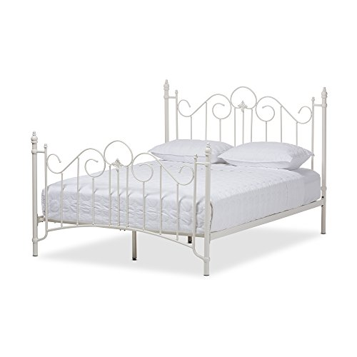 Baxton Studio Juliette Vintage Industrial Finished Metal Size Platform Bed, Queen, White