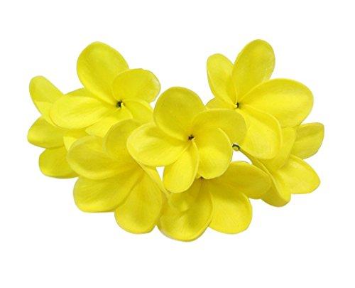 [해외]슈퍼 리얼 분 지 된 프 르 메리 아 객 조화 직경 8cm 11 색 전개 덩어리로 써 코드 기초 세트 아시안 잡화 장식 헤어 액세서리 장식 수 세공 재료 (옐로우) / Super Real With Branches Plumeria Frangipani Artificial Flowers Diameter 8cm 11 Col...