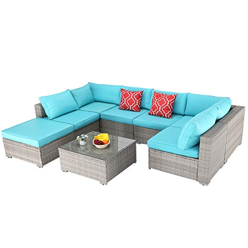 Furnimy Outdoor Wicker Patio Furniture Conversation Set 8 Pieces Sectional Sofa Set Rattan Couch Gray with Cushions and Tempered Glass Top Coffee Table(Turquoise) (Table Rattan Glass Top Garden)