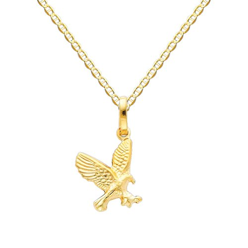 Gold Flying Eagle Charm - Wellingsale 14k Yellow Gold Polished Flying Eagle Charm Pendant with 1.5mm Flat Mariner Chain Necklace - 22