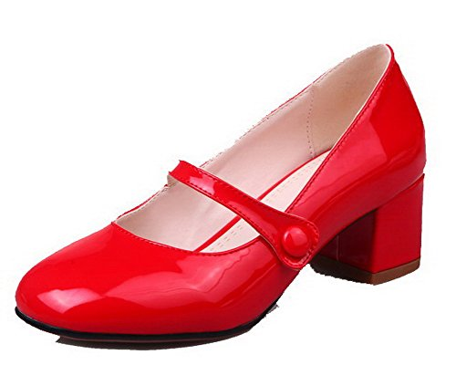 AmoonyFashion Womens Solid PU Kitten-Heels Pull-On Pumps-Shoes Red sJTbxC5Z
