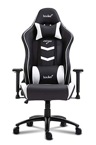 boulies Ninja Gaming Chair Racing Style Adjustable Office Chair Multi-Function Computer Chair Video Game Chair with Speaker - Black & White boulies