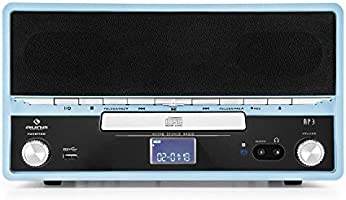 auna RTT 1922 Cadena estéreo Retro con Tocadiscos (Reproductor CD, MP3, USB, Radio FM, Entrada AUX, digitalizador Vinilo) - Azul