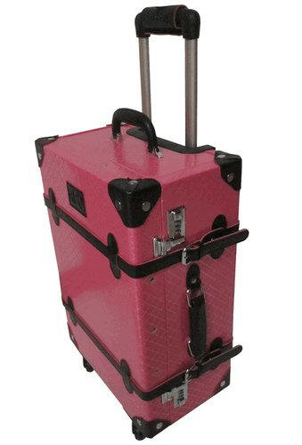 """AmeriLeather Old Fashioned Chest Styled 24"""" Hardside Rolling Upright (Pink)"""