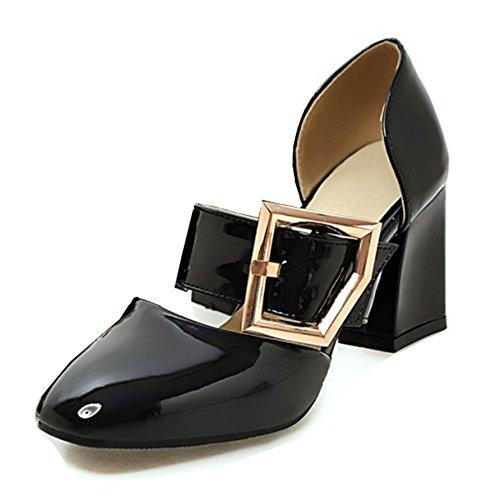 Aisun Femmes Sangle Boucle Robe Orteil Carré Empilé Mi-talon Mode Slip Sur Les Pompes Chaussures Noir