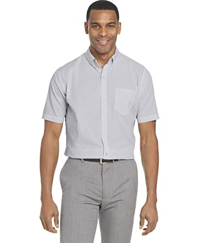 (Van Heusen Men's Wrinkle Free Short Sleeve Button Down Check Shirt, Bright White Minicheck, Large)