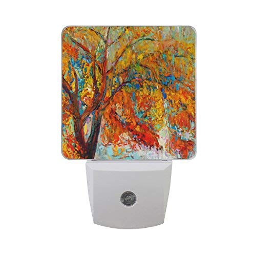 (ALAZA LED Night Light With Smart Dusk To Dawn Sensor,Autumn Tree Colorful Plug In Night Light Great For Bedroom Bathroom Hallway Stairways Or Any Dark Room)