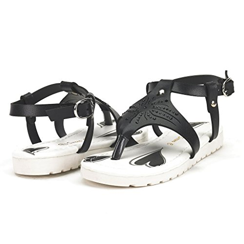 Serena C BOBO-1 Girl's Summer Rhinestones Thong Ankle Strap Flat Sandals Black Size 2 (One Strap Sandal)