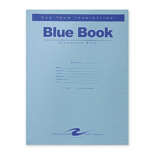 Examination Book (Roaring Spring Blue Exam Book, 11 x 8.5 Inches, 8 Sheets, Full Case with 50 Booklets (77517))