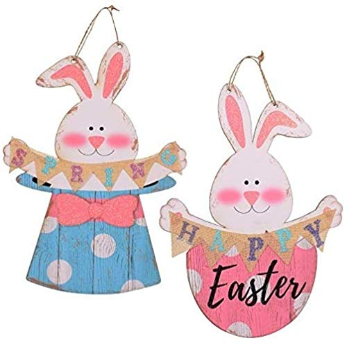 "COCO 15"" Spring Bunny Easter Decorations Wood Wall Signs, Rustic Farmhouse Decor (Set of 2)"