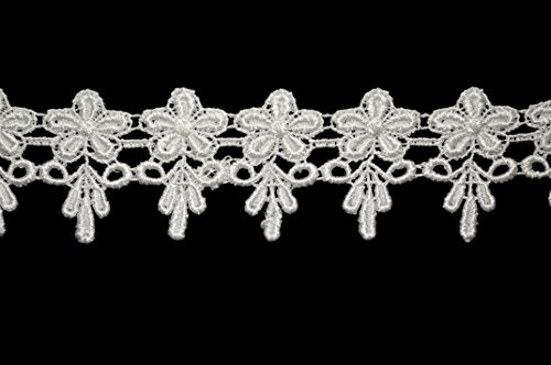 Altotux 1.75 inches White or Ivory Venice Lace Trim By 2 Yards (White)