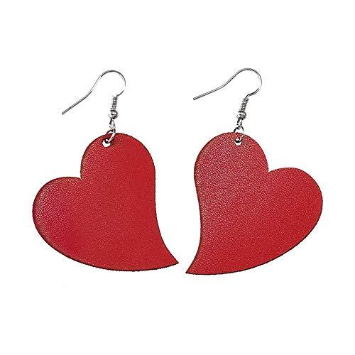SIVITE Heart Leather Earrings Lightweight Leather Drop Earrings Cute Dangle Earrings for Women Girls - Heart Leather Earrings