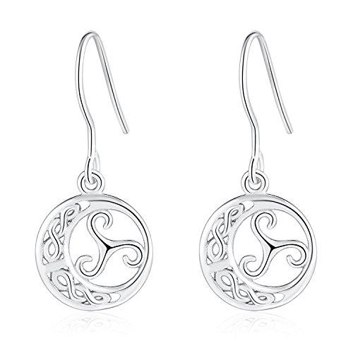 (925 Sterling Silver Minimalist Design Of Dangle Drop Earrings For Sensitive Ears Celtic Knot Jewelry)