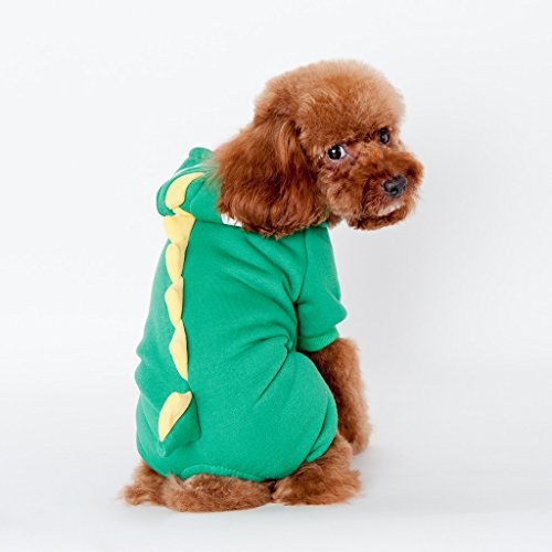 T Rex Cat Costume (Pet Leso® Dog Puppy Costumes Doggie Cat Jumpsuit Godzilla Apparel Dragon T-rex Dinosaur Raptor Plush Costumes Green #1 -Chest:12.5