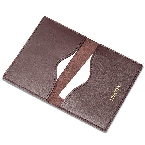 - HISCOW Minimalist Thin Bifold Card Holder   Italian Calfskin (Coffee, Gold logo) , Small