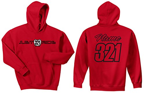 Sweatshirt Hoody Honda (Motocross Hoodie Sweatshirt Just Ride Number Plate Custom Personalized Red Honda (LARGE, RED-BLACK))
