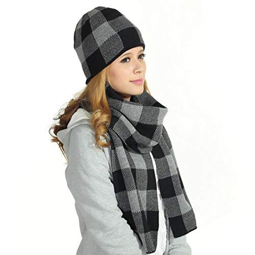 Hat And Scarf Set Hot Sale Classic Arrival Spring Plaid Scarf Tassel Edge Soft Warm Scarf (Thick Hat And Scarf Set)