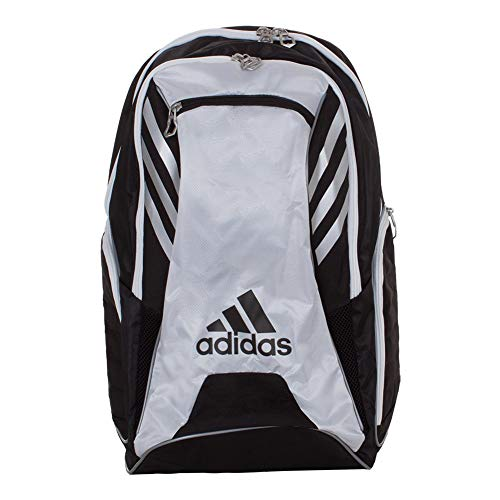 - adidas Tour Tennis Racquet Backpack, Black/White/Silver, One Size