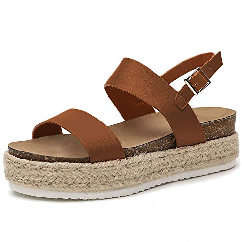 Chenghe Women's Platform Sandals Casual Espadrilles Flatform Ankle Buckle Strap Open Toe Slingback Summer Sandals Brown US 6