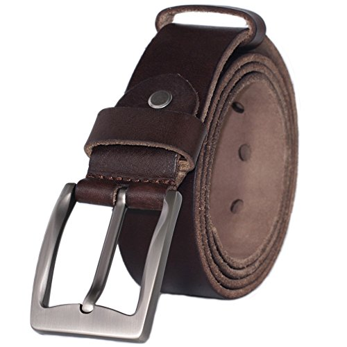 PAZARO Men's Super Soft Top Grain 100% Leather Belt Coffee Color (100 Belt)