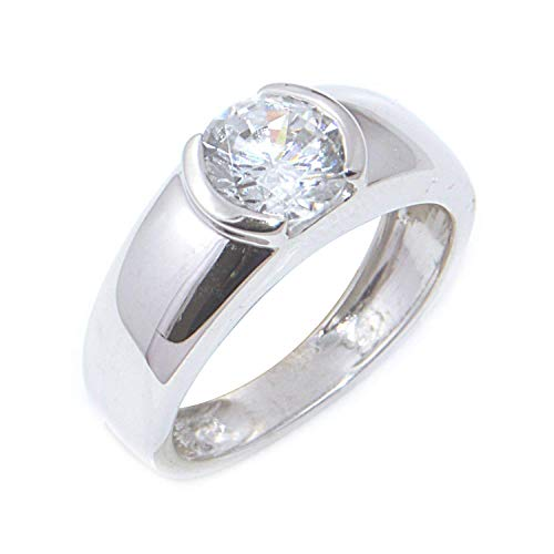 (GS & CO Solitaire Mens Ring 925 Sterling Silver Fashion Mens Single Stone Diamond Ring Band Rhodium Finishing Gold Plating Prong Set CZ Diamond Classic Heavy Stylish Design For Occasion Wear (7))