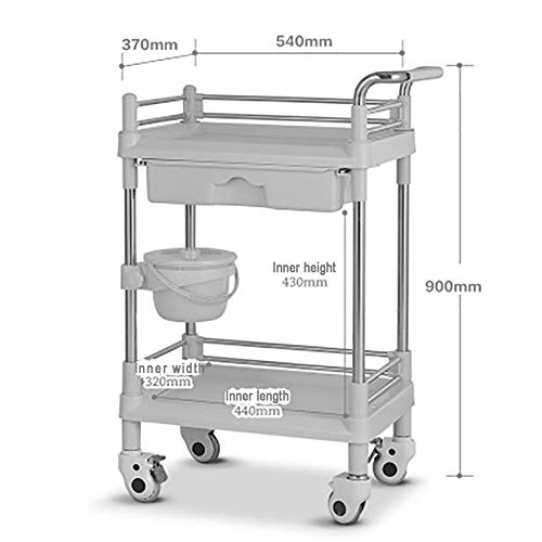 Mobile Treatment Cart - XQY Hospital Trolley, Medical Supplies Rack-Medical Cart Tool Abs Mobile Beauty Salon Cart with Drawer, Durable Medical Rolling Trolley with Dirt Bucket, Heavy-Duty Caster with Brake, Blue,S-543790