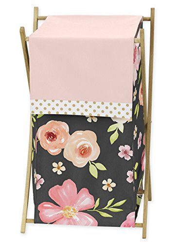 (Sweet Jojo Designs Black, Blush Pink and Gold Baby Kid Clothes Laundry Hamper for Watercolor Floral Collection - Rose Flower)