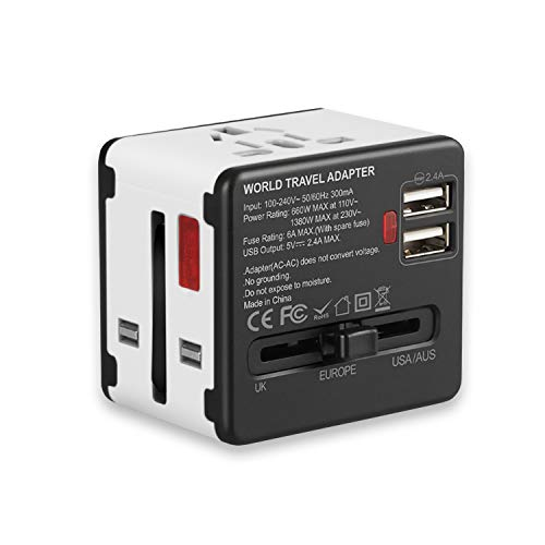 International Power Adapter, European Adapter, OTYTY Universal Travel Charger Adapter with 2.4A Dual USB Plug for UK/EU/US/AU over 150 Countries, Worldwide Wall Charger AC Wall Outlet (White) (Short Eye Bolt)